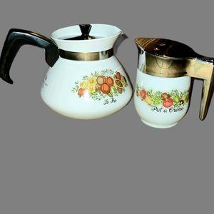 Vintage Corningware Spice of Life Coffe Pot & Crea